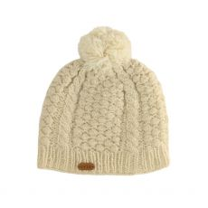 Erin Aran Blackberry Bobble Hat White