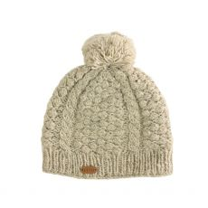 Erin Aran Blackberry Oat Bobble Hat
