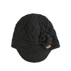 Erin Aran Trellis Charcoal Peak Hat