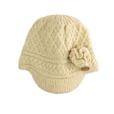 Erin Aran Trellis White Peak Hat