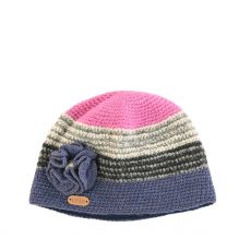 Erin Blue/Pink Flower Crochet Cap