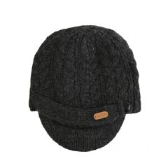 Erin Cable Ladies Charcoal Grey Peak Hat