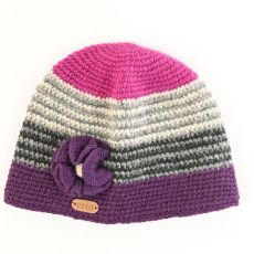 Erin Crochet Ladies Cap with Flower Pink and Purple