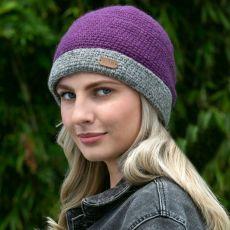 Erin knitwear ladies crochet turn up beanie hat purple