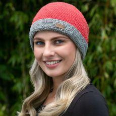 Erin knitwear ladies crochet turn up hat raspberry