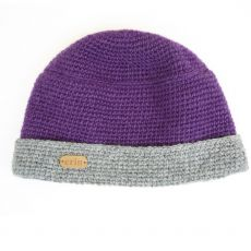 Erin Crochet Ladies Turn Up Hat Purple