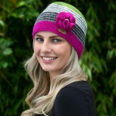 Erin Green & Pink Flower Crochet Cap