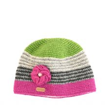 Erin Green/Pink Flower Crochet Cap