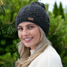 Erin Aran Blackberry Charcoal Bobble Hat