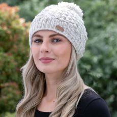 Erin Aran Blackberry Oat Bobble Hat