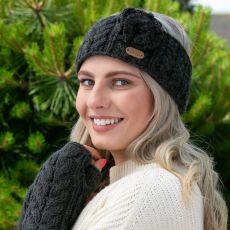 Erin knitwear Aran Cable Charcoal Headband