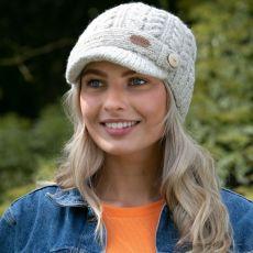 Erin Aran Cable Peak Oatmeal Hat