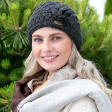 Erin knitwear Aran Trellis Charcoal Hat