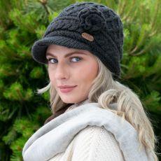 Erin knitwear Aran Trellis Charcoal Peak Hat