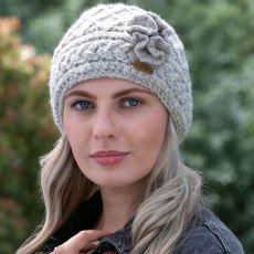 Erin knitwear Aran Trellis Oat Hat