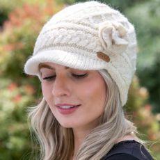Erin knitwear Aran Trellis White Peak Hat