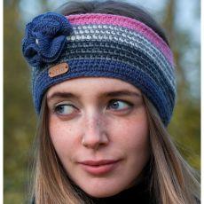 Erin Blue Flower Crochet Headband