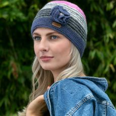 Erin Blue & Pink Flower Crochet Cap model