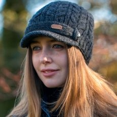 Erin Cable Ladies Charcoal Grey Peak Hat