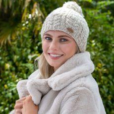 Erin knitwear ladies bobble hat beige cream