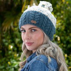 Erin knitwear ladies bobble hat denim blue speckle