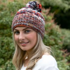 Erin Orange & Berry Wool Bobble Hat