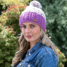 Erin Wool Lilac Band Bobble Hat model