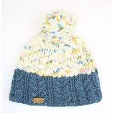 Erin Uneven Wool Bobble Hat with Cable Band Denim Blue