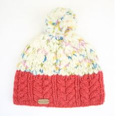 Erin Uneven Wool Bobble Hat with Cable Band Raspberry
