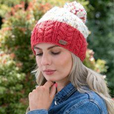 Erin knitwear raspberry bobble hat