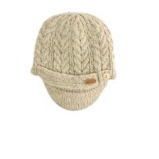 Erin Aran Cable Peak Oatmeal Hat