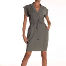 Eva Kayan Khaki Belted Shirt Dress front