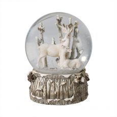 Extra Large White Deer Snow Globe