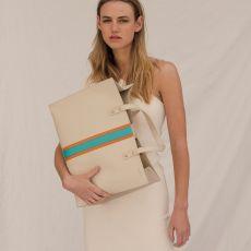 Peelo Stripe Leather Tote Bag