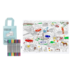 Eat Sleep Doodle Placemat to go Working Wheels