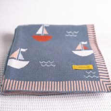 Babyboo Sailboats Dark Blue Blanket