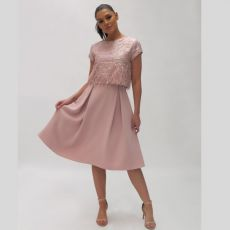 Fee G Blush Feather Top Dress
