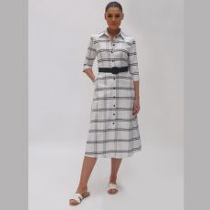 Fee G Checked Printed Dress
