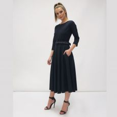 Fee G Navy Belted Swing Dress