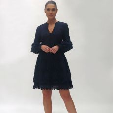 Fee G Navy Embroidery Dress