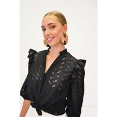 Fee G Ruffled Sleeve Black Shirt