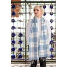 Foxford Blue Check Lambswool Scarf