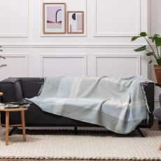 Foxford Cashmere Sage/Blue/White Throw