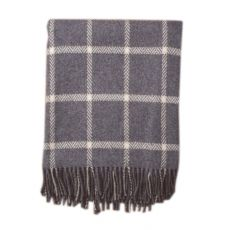 Foxford Grey & Bone Windowpane Throw