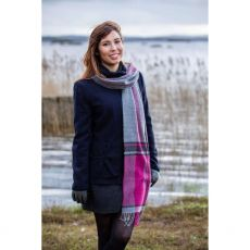 Foxford Grey/Majenta Check Scarf