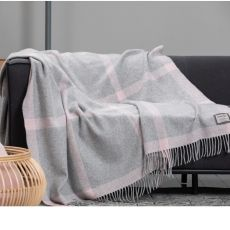 Foxford Pearl Pink Windowpane Throw