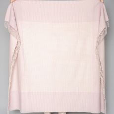 Foxford Whisper Pink Wht Border Tick Cashmere Throw