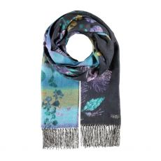 Fraas Blue Floral Print Scarf
