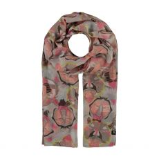Fraas Lions & Tigers Print Cream Scarf