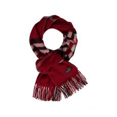 Fraas Red Check Cash mink Scarf